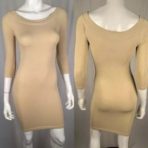 Bebe Gold Scoop 3/4 Sleeve Bodycon Sheath Dress